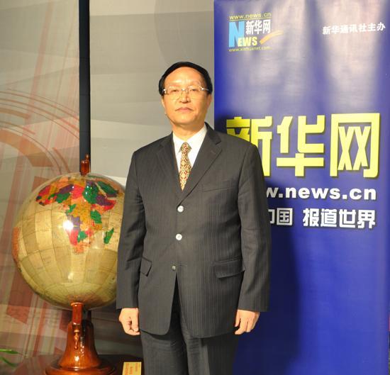 张国宝接受中国新华新闻电视网和新华网联合专访。新华网 王镭 摄