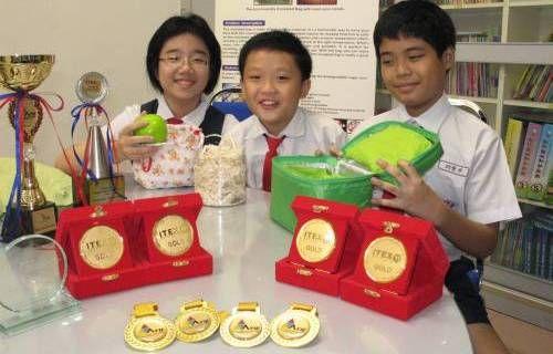 大马3名华裔小学生研发环保保温袋获多个奖项(图)