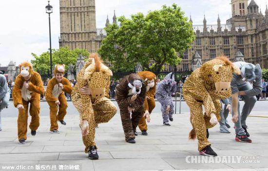 英国民众议会前扮动物跳舞游说议员推行环保政策[1]