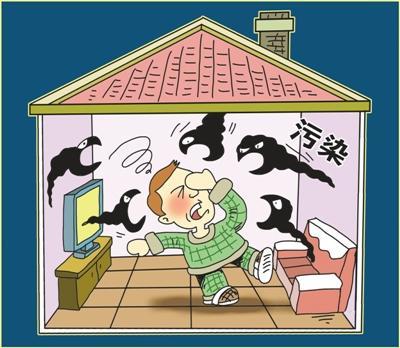 """长期以来,室内空气污染物一直作为""""隐形杀手""""潜伏在各种建筑物中。朱慧卿绘"""